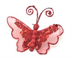 Бабочка(красный) на прищепке - фото 8456